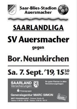 Stadionzeitung SVA – Borussia Neunkirchen 07.09.2019