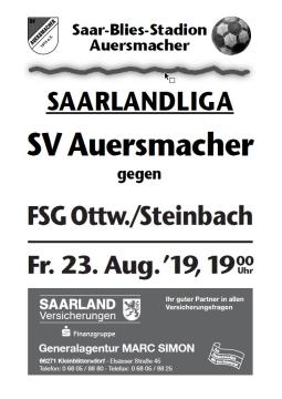 Stadionzeitung SVA – FSG Ottweiler/Steinbach 23.08.2019