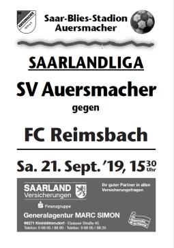 Stadionzeitung SVA – FC Reimsbach 21,09.2019