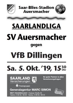 Stadionzeitung SVA – VfB Dillingen 05.10.2019