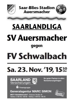 Stadionzeitung SVA – FV Schwalbach 23.11.2019