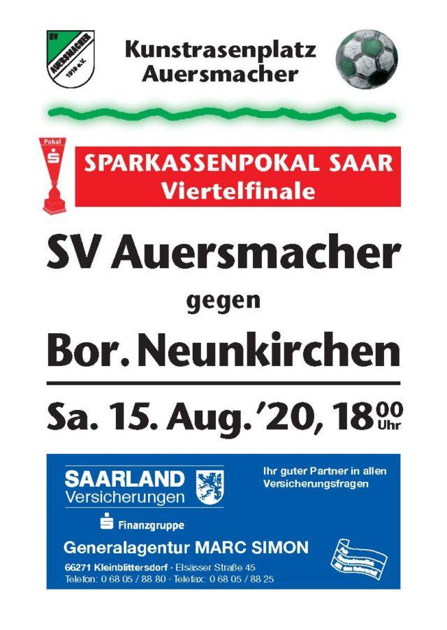 Stadionzeitung SVA – Borsussia Neunkirchen Sparkassenpokal 15.08.2020